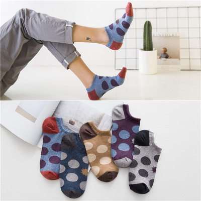 Men Socks 2019 Autumn New Cotton Fasion Dot Breathable Deodorant Socks Fashion Comfortable Non-slip Flexible Boat Socks Men