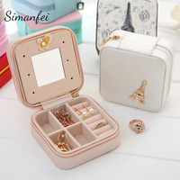 Simanfei Mini Portable Jewelry Storage Box 2017 New Travel Portable Earring Rings Holder 2 Layers Suede
