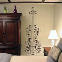 Free Shipping Elegant Musical Violin Music Art Wall Decal Decor Sticker Vinyl Poster Mural Kid Room Decoration Murals 120X42cm
