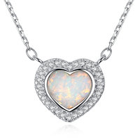 High Quality S925 Sterling Silver Jewelry New Fashion Australia Frame Opal CZ Crystal Heart Pendant With