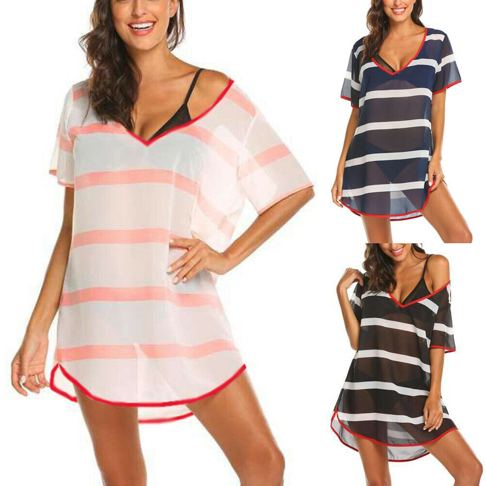 Women Summer Vacation Beach Dress Cover Up Striped Loose Swimwear One-piece Bikini Cover Up Bathing Suit Swimming Dress