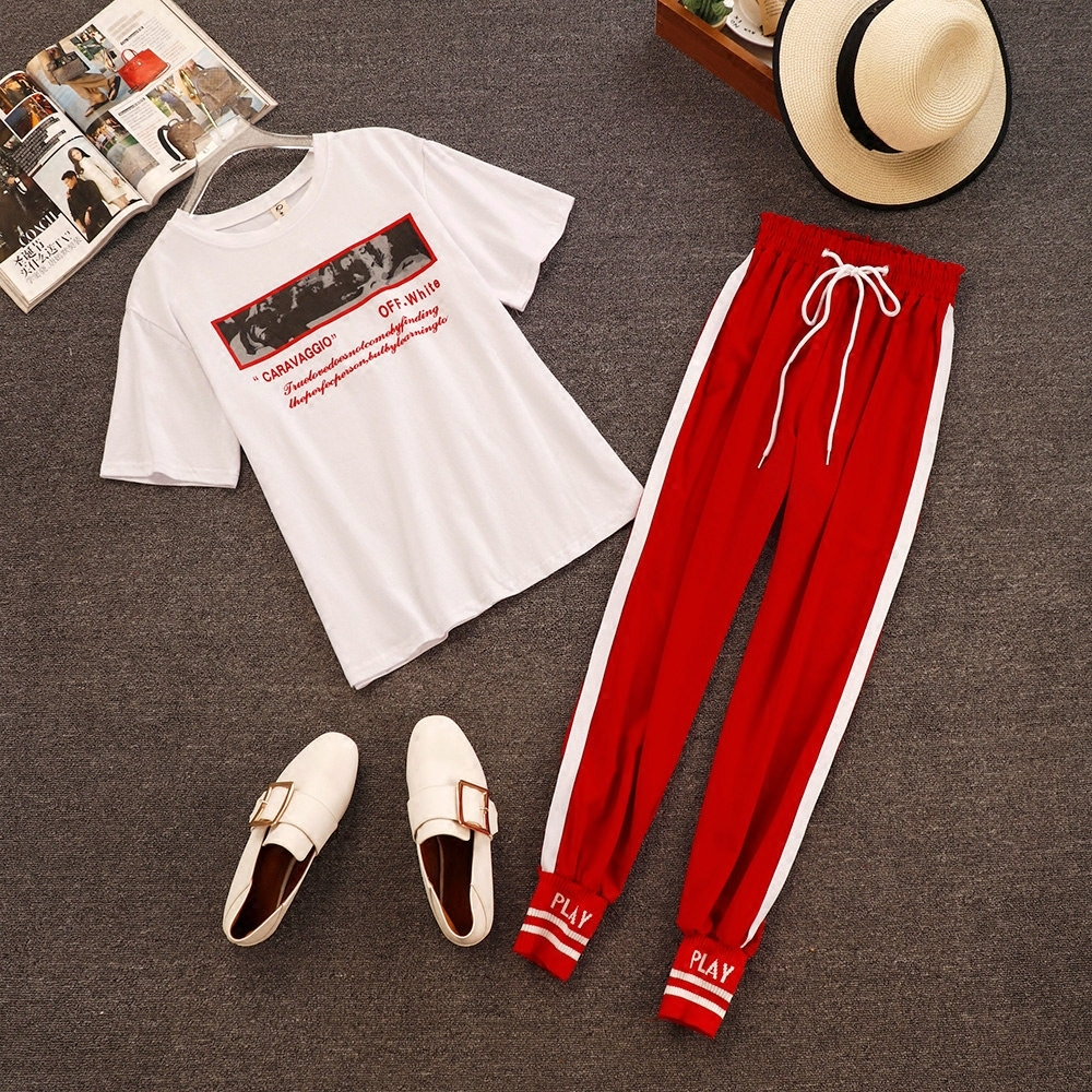 2018 Summer New Fashion Women White Letter Print Casual T-shirts + Elastic Waist Lace-up Side Striped Pencil Pants 2 Piece Sets 1