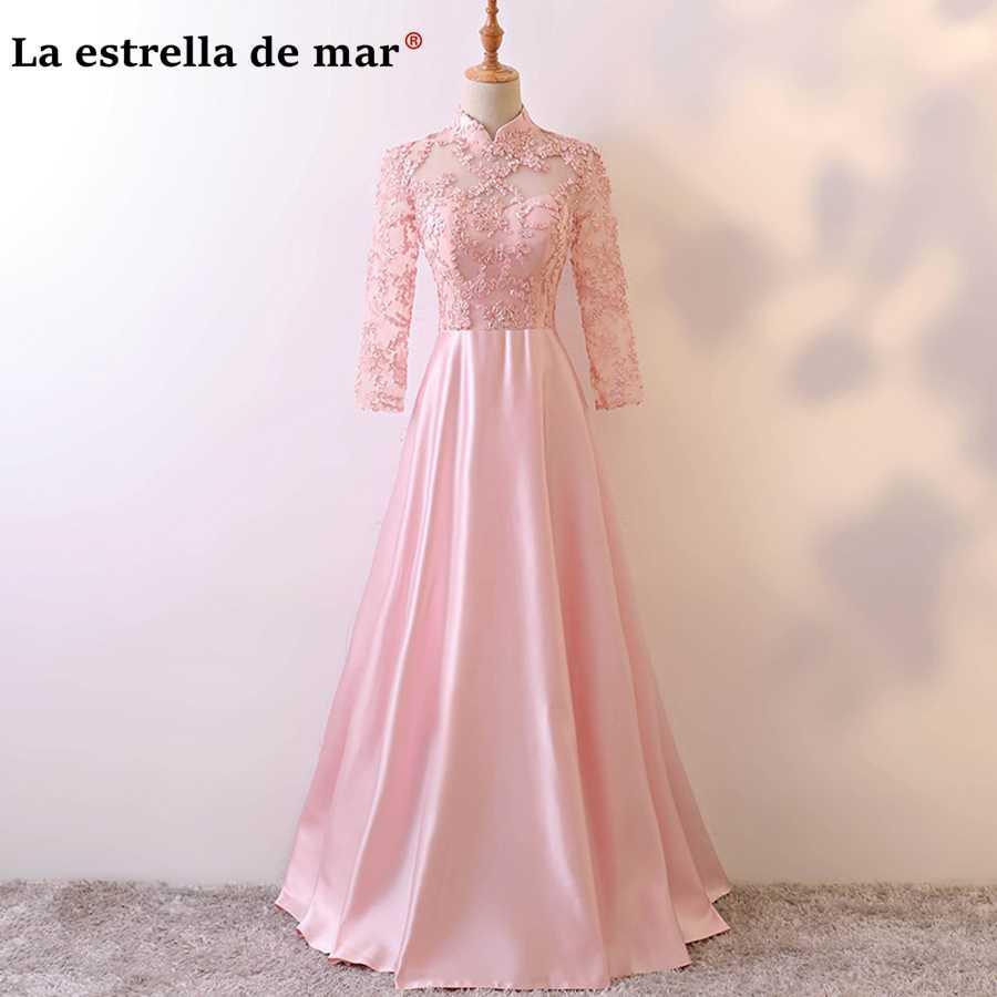 f285c6b284330 vestidos de festa vestido longo para casamento 2018 lace neck long sleeve a  line pink champagne