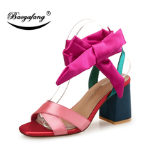 ФОТО baoyafang new  butterfly-knot ladies fashion shoes woman summer sandals ladies party sandals women wedding shoes thick heel