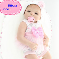 22inch NPK Full Silicone Reborn Baby Dolls In Pink Princess Clothes About 58cm Handmade Play Doll