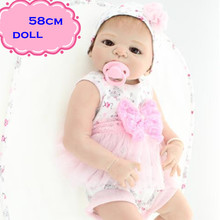 22inch NPK Full Silicone Reborn Baby Dolls In Pink Princess Clothes About 58cm Handmade Play Doll Reborn For Kids Brinquedos
