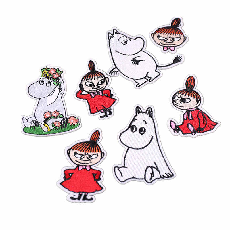 1Pcs Unicorn Flower Horse Hippo Embroidered Patches Clothes Iron On Sewing Applique Patches Animal Garment DIY Repair Stickers