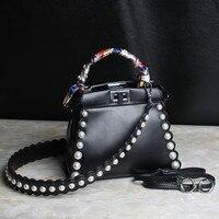 Elegant pearl decoration Genuine Leather bags handbags women famous brands Snap closure double shoulder strap messenger bag
