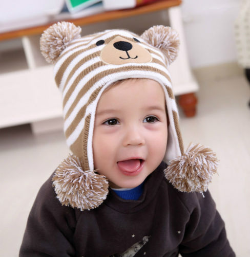 94a39f2d5a6 2017 Fashion Newborn Baby Boy Girl Pom Hat Winter Warm Crochet Knit Bobble  Beanie Cap New Cute Bear Christmas Earflap Hat-in Hats   Caps from Mother    Kids ...