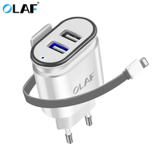OLAF 5V 2.1A Dual USB Port Wall Travel Power Adapter Charger EU Plug Smart Mobile Phone Charger for iPhone Samsung USB Charger
