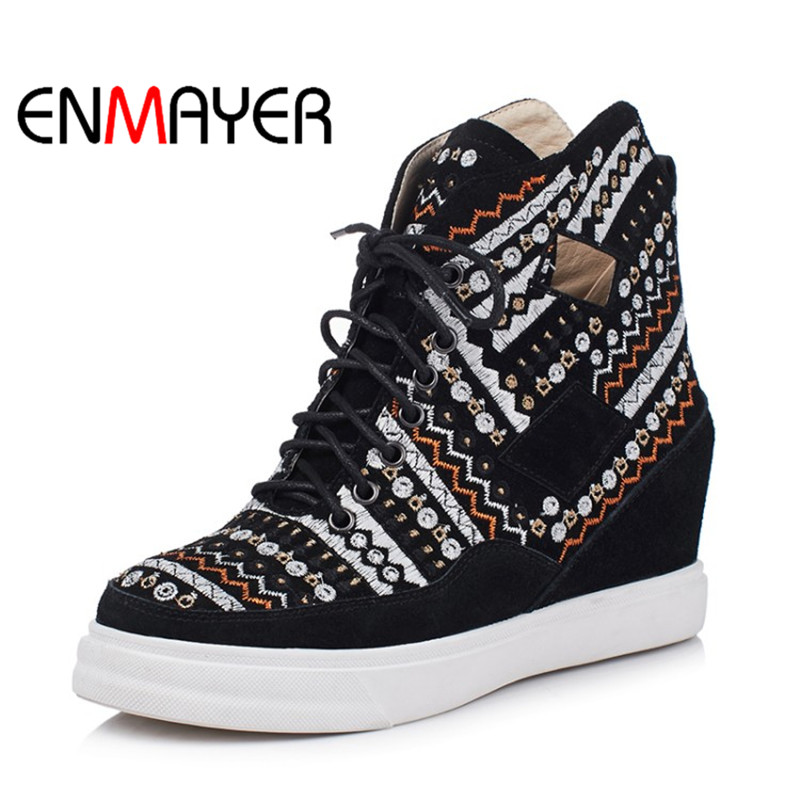 ENMAYER Ethnic Style Fashion Women Ankle Boots Lace-up Genuine Leather Round Toe Winter Boots Black Embroidery Shoes for Ladies enmayer winter woman boots pointed toe lace up shoes winter warm boots black red 2017 new fashion shoes ankle boots big size