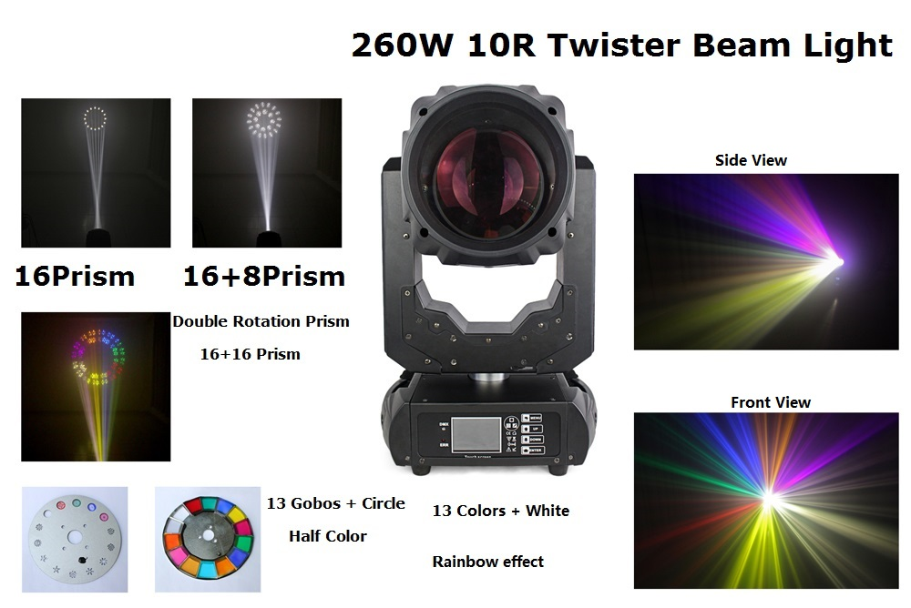 260W 10R Beam Spot Moving Head Lights Beam 260W Beam 10R Disco Nightclub Stage Lights LED LCD Touch Screen Electronic ballast