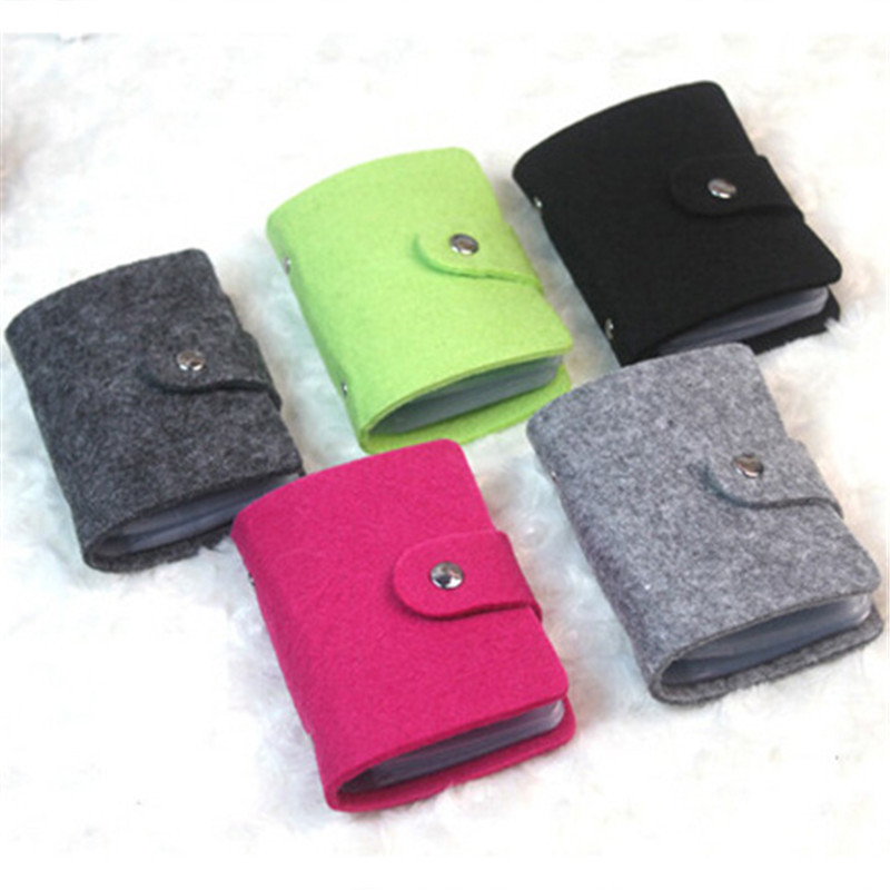 24 card New Men's Women hair felt Credit Card Holder/Case Card Holder Wallet Business Card Package Bag women men business name superior quality id credit card candy color protector leather wallet card holder package box a dropship