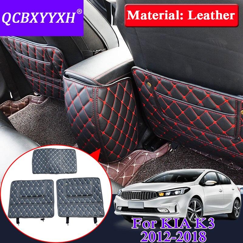 QCBXYYXH Car Armrest Cover Kick Pad Case Back Seat Protection Mat Children Anti-Kick Pad For KIA K3 2012-2018 Leather Accessory