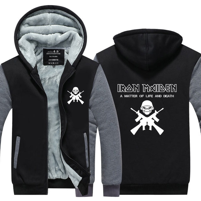 Iron Maiden Толстовки мужчин С Длинным рукавом полоса Куртка рок хэви-метал Сгущает На Молнии Стив Харрис Топы Плюс размер