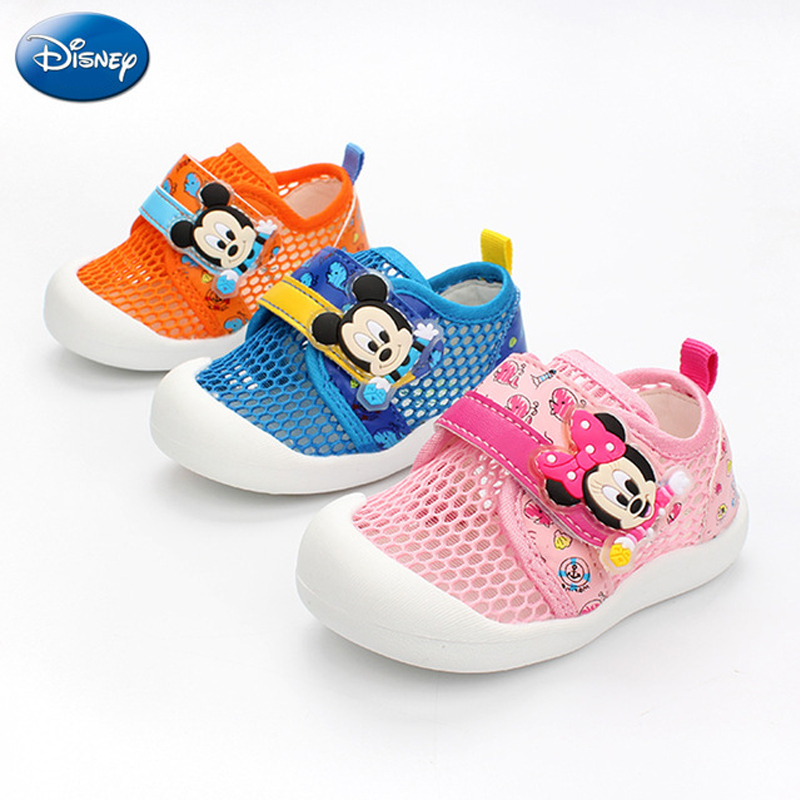 2019 New Disney Baby Casual Shoes Canvas Net Breathable Girls Boy Leisure Sports Running White Brand Kids