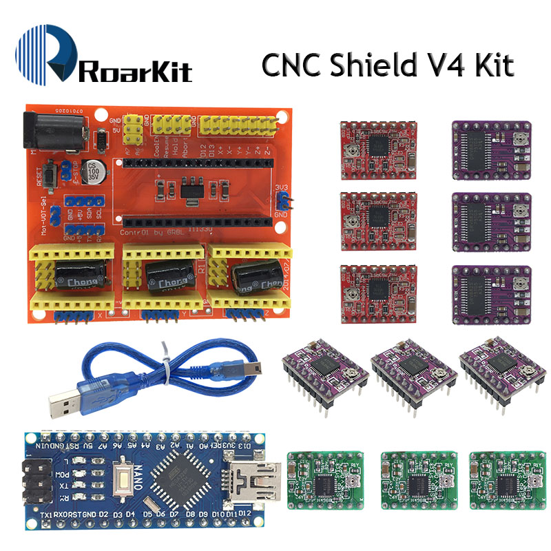 CNC Shield V3 engraving machine 3D Printer+ 4pcs A4988/DRV8825