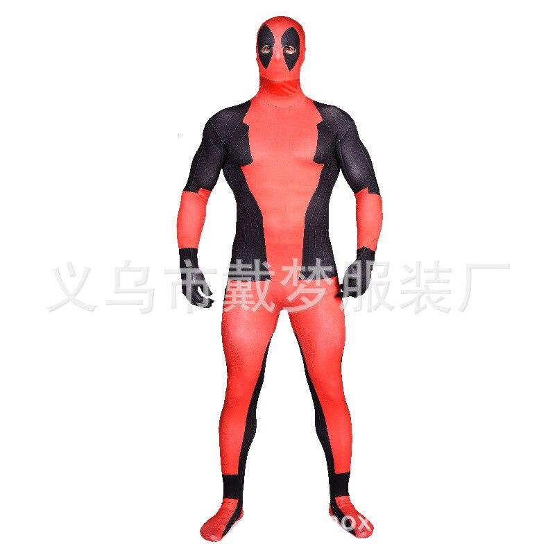 (LP7054) adulte corps complet rouge et noir Deadpool Lycra Spandex super-héros Spiderman Zentai costumes Costume de fête d'halloween