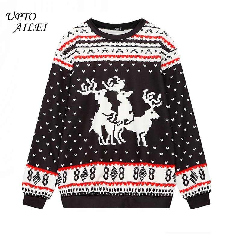 89b7538f9081f1 2018 Woman Black Deer Print Hoodie Femme Christmas Sweatshirt Womens Long  Sleeve Tops Street Wear Fashion