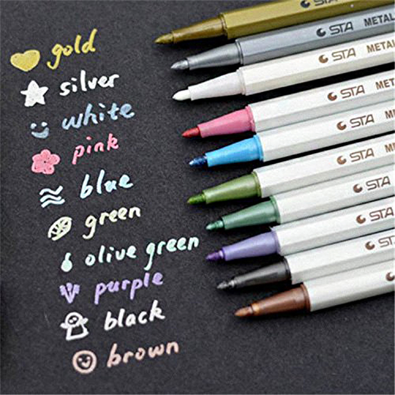 10 Pcs/lot STA Metallic Colored Ink Water Chalk Pen For Scrapbook Photo Album Drawing Watercolor Art Marker Gel Pens Stationery