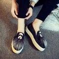 Cesta de Primavera Verano 2016 Nueva Casual Slip on de Cuero Entrenadores Zapatos Mujeres Plataforma Glitter Plana Mocasines de los Tenis Zapatillas Zapatos