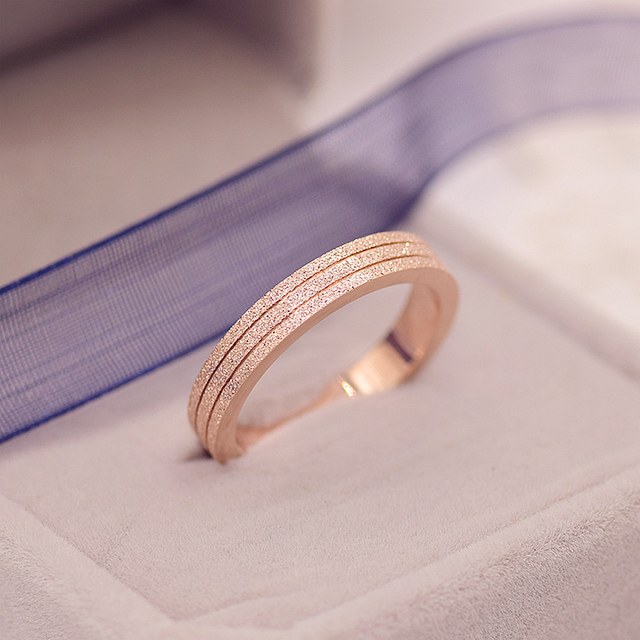 YUN RUO Brand Rose Gold Color Frosted Ring for Woman Girl Gift Couple Jewelry 31