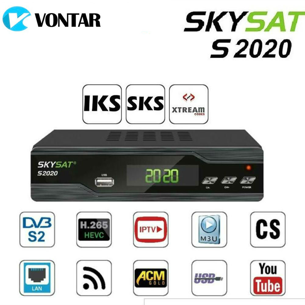 купить Original SKYSAT S2020 Twin Tuner Satellite Receiver DVB-S2 TVBox IKS SKS ACM H.265 Xtream M3U PowerVu Full HD Channels по цене 3348.2 рублей