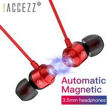 !ACCEZZ Magnetic Earphone With Microphone Super Bass HiFi 3.5mm In-Ear Earphones For Xiaomi Samsung iphone Wired Stereo Headset цена 2017