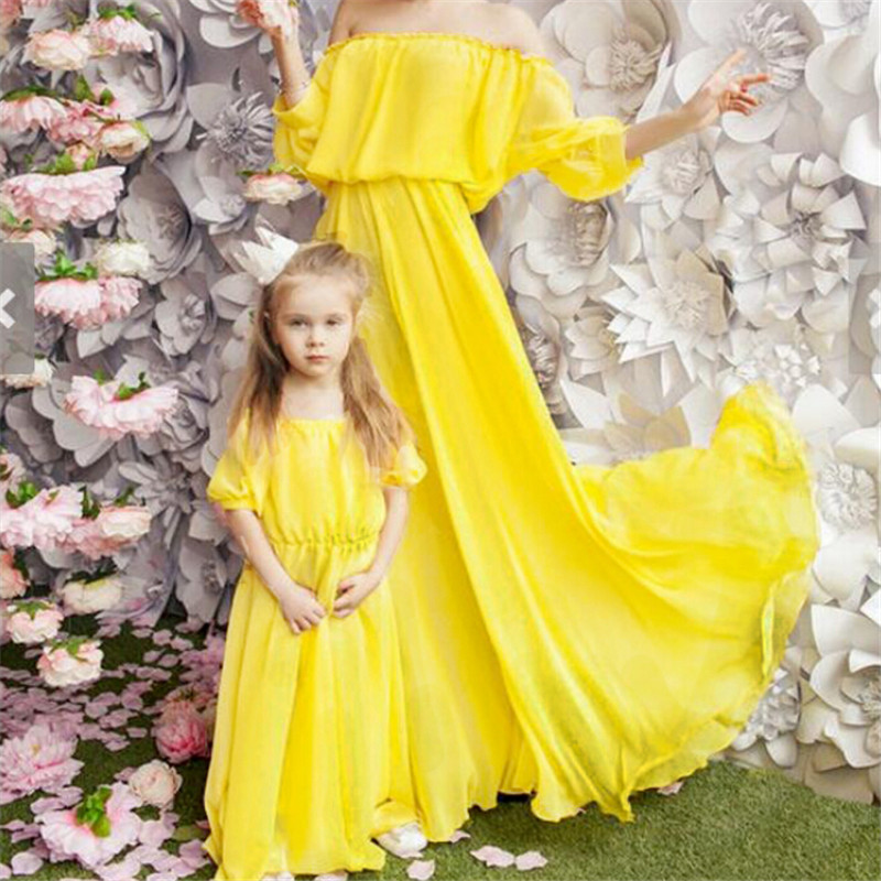 Mother Daughter Boho Off-shoulder Dresses Fashion Parent-child Maxi Dress Family Matching Outfits Family Look Puff Sleeve Dress