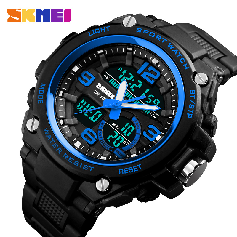 SKMEI Men Sports Digital Watch Fashion Dual Display Quartz Wristwatches 50M Waterproof Outdoor Man Clock Relogio Masculino skmei men quartz digital dual display sports watches new clock men outdoor military watch fashion student waterproof wristwatch