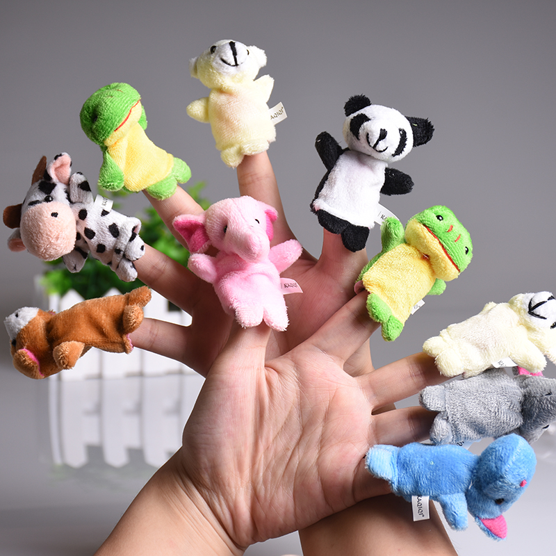 5pcs/set Cute Animal Finger Puppet Plush Toys Cartoon Biological Child Baby Favor Doll Kids Gifts Family Educational Finger Toy