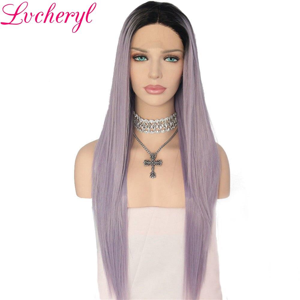 Lvcheryl Long Straight Ombre Black To Light Purple Hand Tied High Temperature Fiber Full Density Hair
