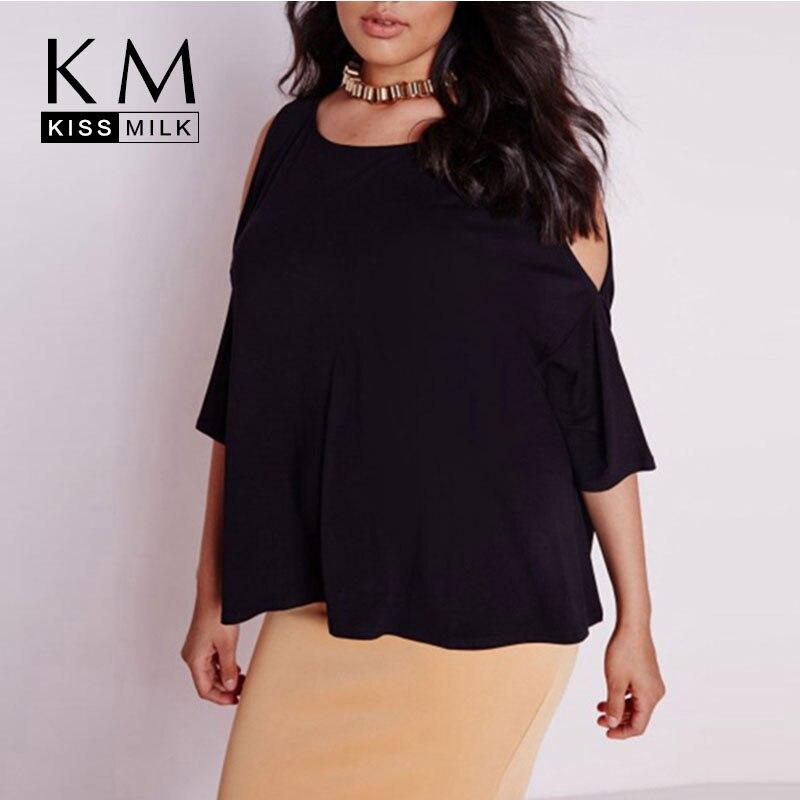 Kissmilk plus size new fashion women o neck big size cold for Plus size 3 4 sleeve tee shirts