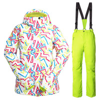 Snowboarding Suit Women Brands Winter Thick Warm Windproof Waterproof Breathable Snow Ski Jachet+Pants