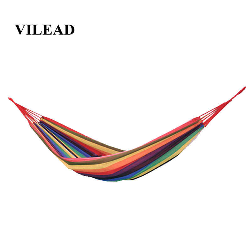 VILEAD Stable 200*80 cm Camping Hammock Backpacking Hiking Travel Garden Swing Hanging Chair Ultralight Portable Rainbow color-in Camping Cots from Sports & Entertainment