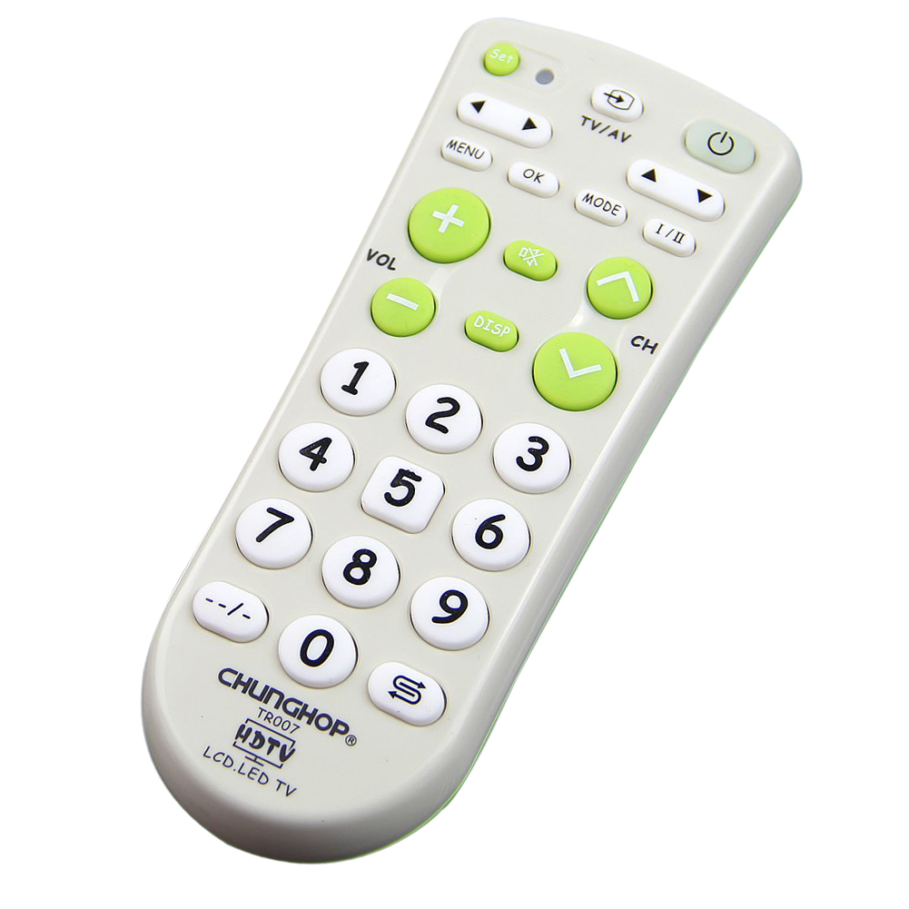 CHUNGHOP Large Key Universal White With Green Multifunction Short Remote Control For LCD LED HD TV Sets chunghop l102 universal single 11 key learning ir remote control silver white 2 x aaa