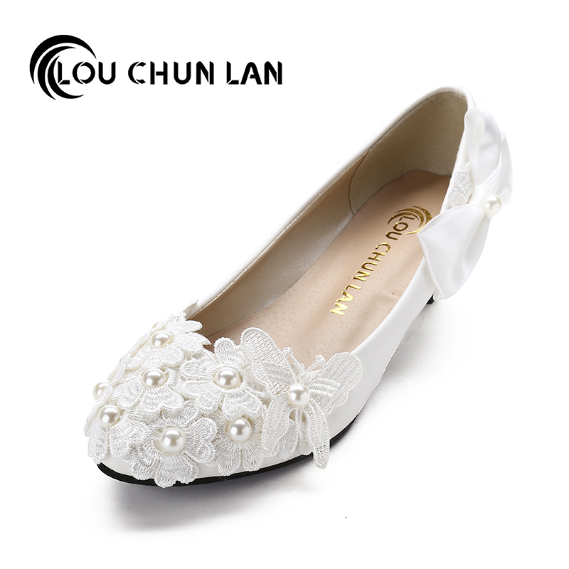 Handmade Wedding Shoes White flat Pearl Bridal Shoes Flower Lace butterfly spring Bridesmaid Shoes Female Adults Flats
