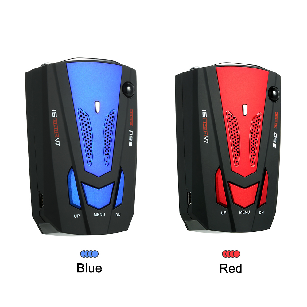 Car Vehicle Radar Detector Speed Control Detector V7 Speed Voice Alert Warning Device Blue Russia / English