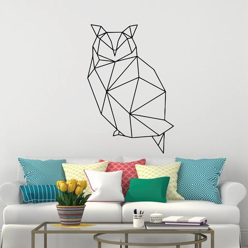 Geometric Animals Decor Owl Wall Decal , Vinyl Owl Art Removable Wall Sticker Modern Home Decor