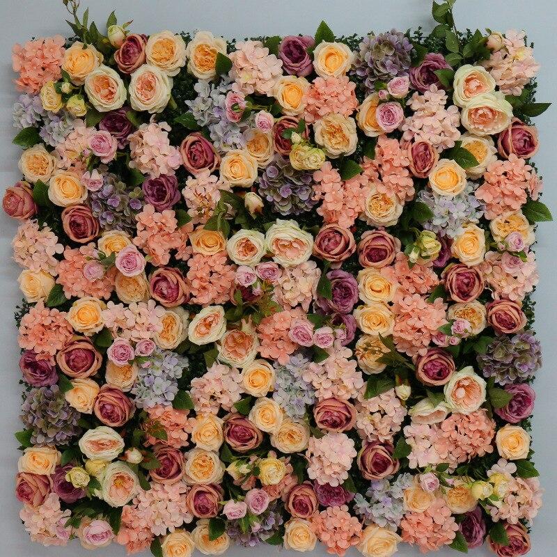 Excellente qualité 1.2 M x 1.2 M fleur artificielle toile de fond Rose fleurs de soie fournitures fleur mur Arches mariage fête décor