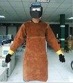 XXL code Round neck, long-sleeved, chest protect & open back COWHIDE welding apron, welding  clothes