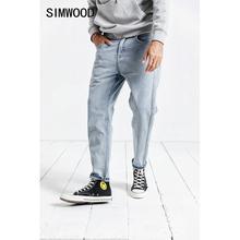 SIMWOOD ใหม่ 2020 กางเกงยีนส์ผู้ชายฤดูใบไม้ผลิแฟชั่นล้างด้านข้างลาย Jean Homme PLUS ขนาดลำลองข้อเท้า ความยาว DENIM Harem กางเกง 190025