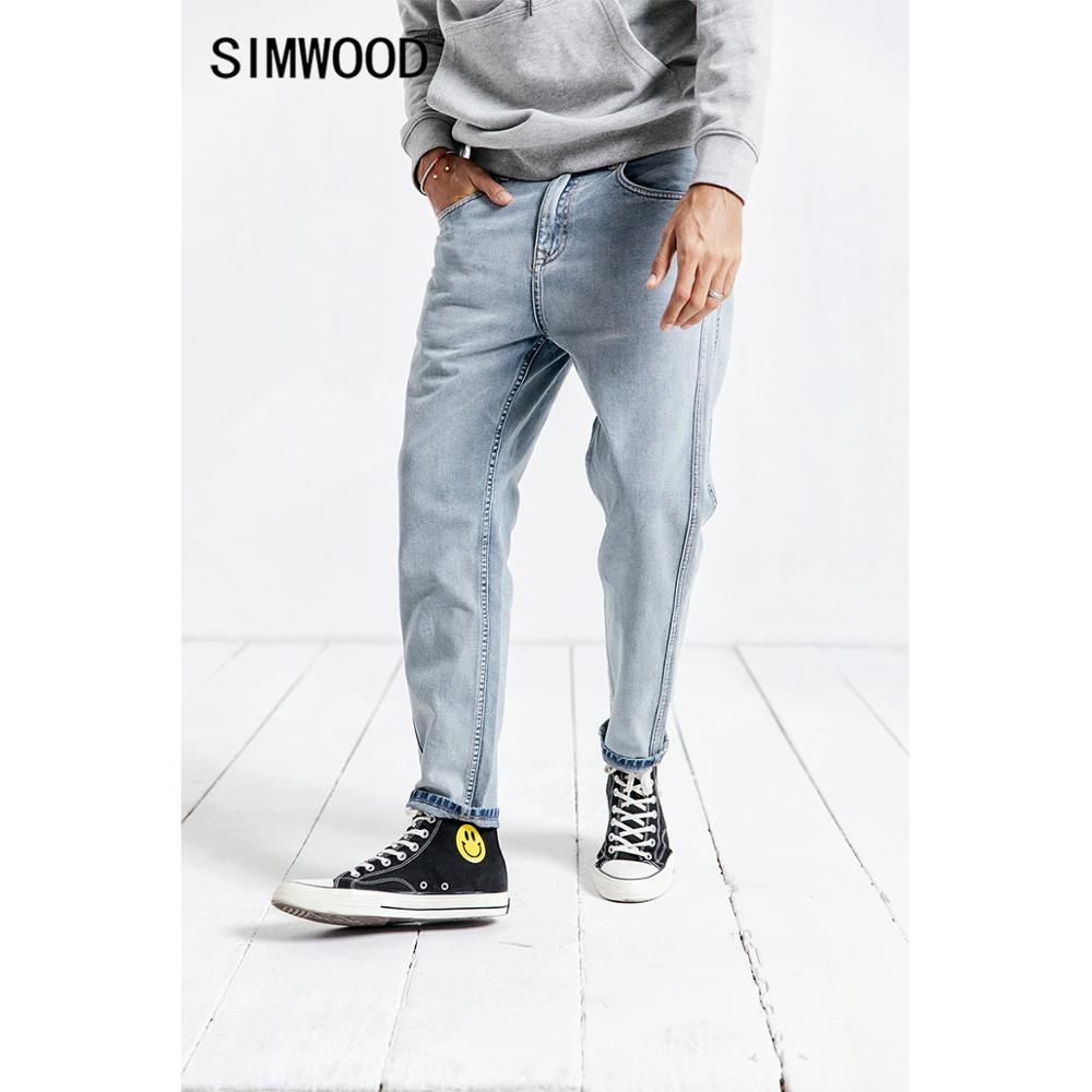 SIMWOOD New 2020 Jeans Men Spring Fashion  Wash Side Striped Jean Homme Plus Size Casual Ankle-Length Denim  Harem Pants  190025