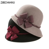 Fashion Vintage Elegant Solid Wool Floral Fedoras hats for women wedding men's straw hat fedora New Brand Apparel Accessories