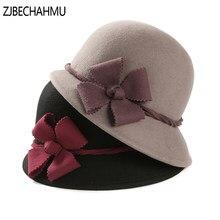 Moda Vintage elegante lana sólida Floral Fedoras sombreros para las mujeres  hombres de la boda sombrero dda9ebbd9c3b