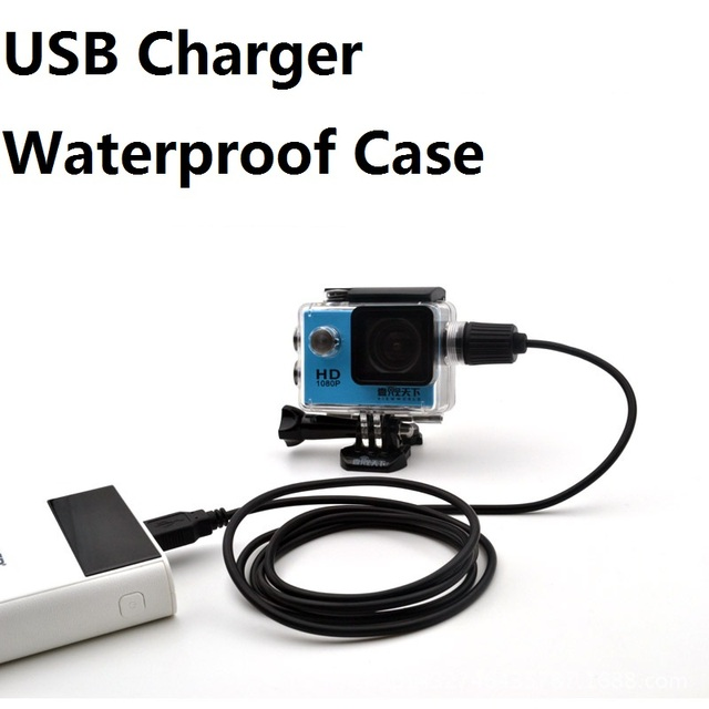 Sport Camera Accessories Waterproof Case Charger shell With USB Cable for SJCAM SJ4000 Air Sj7000 C30 EKEN H9 H9R For Motocycle