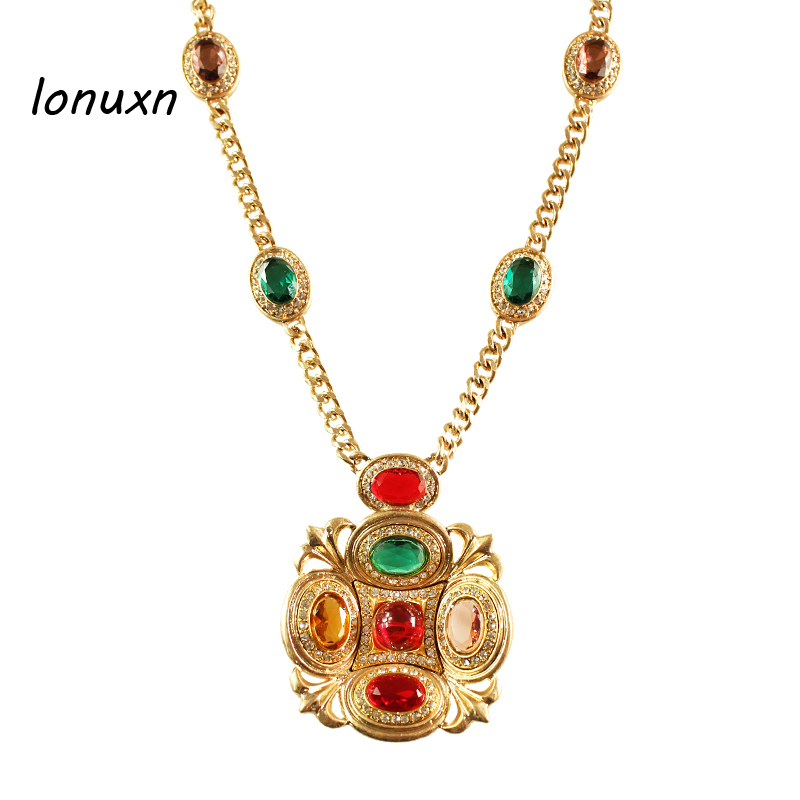 Collier en or style rétro palais fête filles haute qualité grandes femmes bijoux rétro Baroque byzantin long pendentif amoureux cadeau