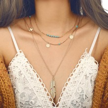 Silver Gold Link Chain Layered Necklace for Women Feather Charm Pendant Necklace Bohemian Ethnic Women's Fashion Necklaces 2019 gold feather pendant chain necklace