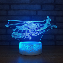 Helicopter Usb Night Light Colorful Touch 3d Visual Lamp Creative Energy Saving Led 3d Light Fixtures Kids Room Light