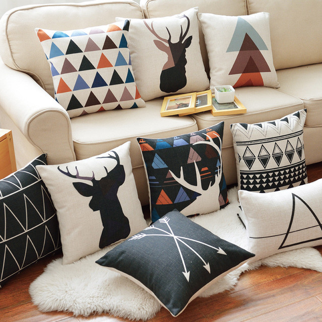 Decorative throw pillow case geometric Deer elephant  animals bear cotton linen cushion cover for sofa home room decor  45x45cm